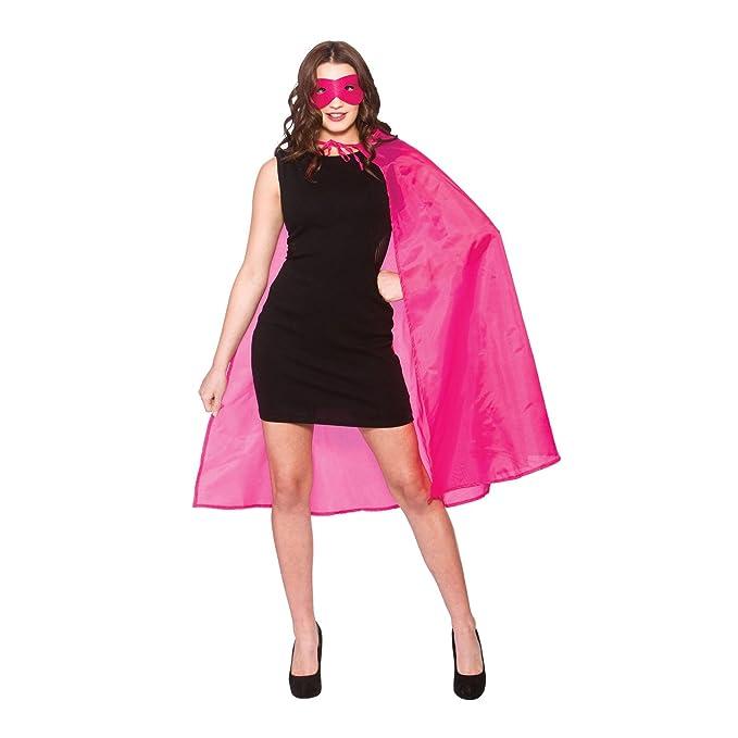 MASK FANCY DRESS COSTUME COMIC FILM HERO HALLOWEEN PINK ADULTS SUPERHERO CAPE