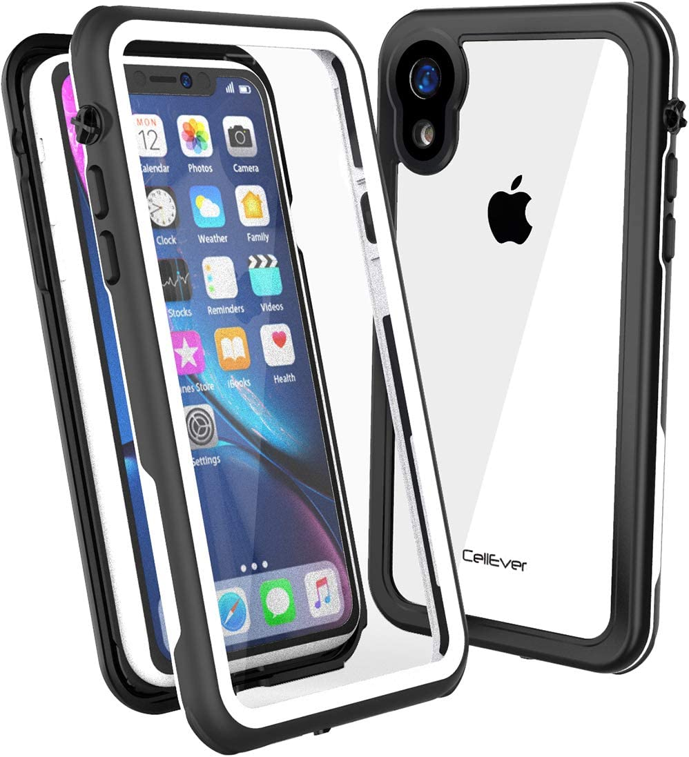 CellEver Clear iPhone XR Case Waterproof Shockproof IP68 Certified SandProof Snowproof Full Body Protective Clear Transparent Cover Fits Apple iPhone XR 6.1 inch (2018) - KZ White