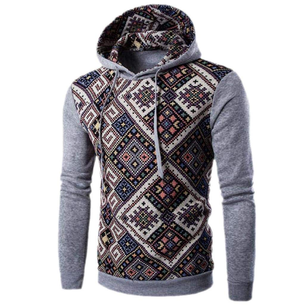 REYO Men's Coats Winter Men Retro Hooded Tops Jacket Outwear Long Sleeve Hoodie Christmas Sweatshirt