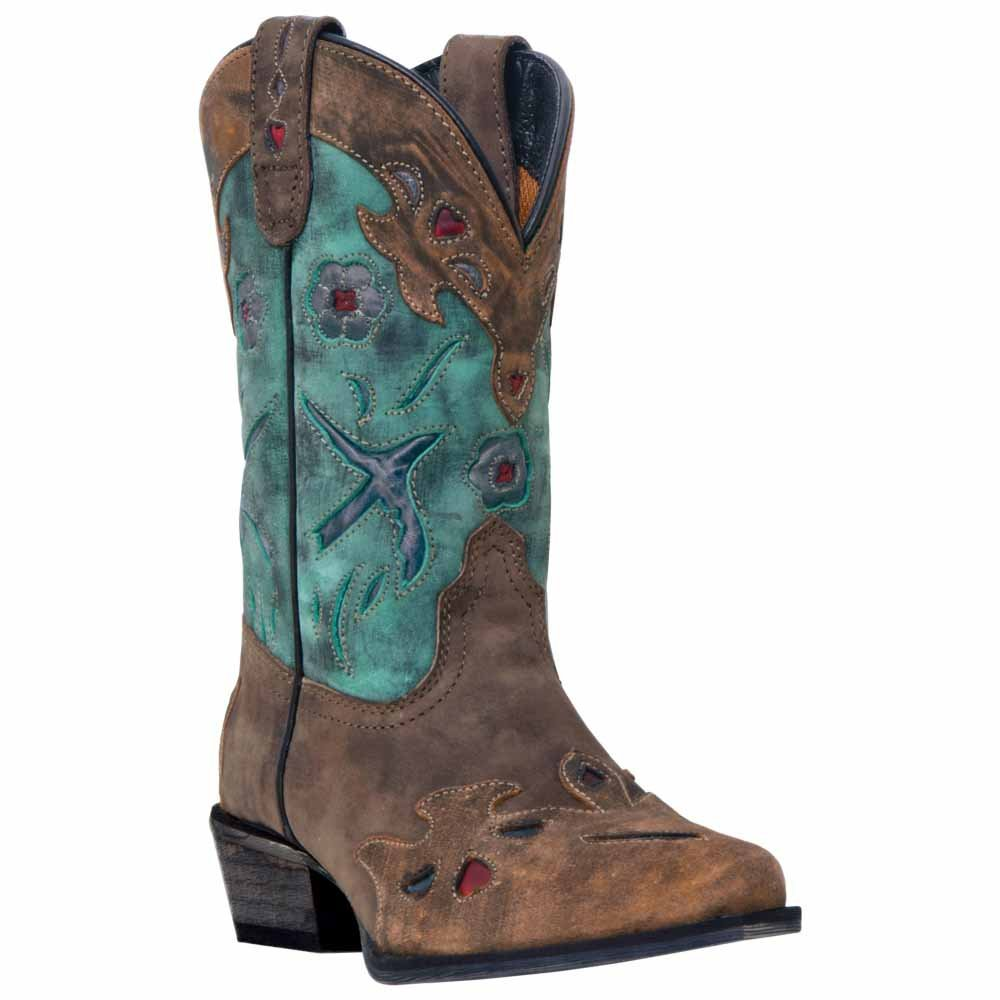 Dan Post Childs Vintage Bluebird Snip Toe Boot B00DMB59UU 4.5 M US Big Kid|Distress Teal Blue