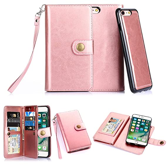 official photos 680b0 6a25a iPhone 7 Case,iPhone 8 Case, TabPow 10 Card Slot - [ID Slot] Wallet Folio  PU Leather Case Cover With Detachable Magnetic Hard Case For iPhone  7/iPhone ...