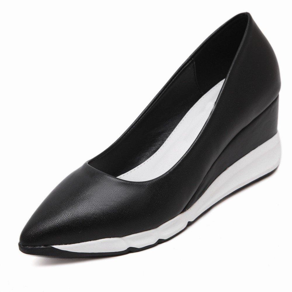 CXY Plattfußbodenschuhe der Frühlings-Europäischen Plattform Kippen Spitze mit Einzelnen Weiblichen Hohen Absatzschuhen der Schuhe Schwarz 34