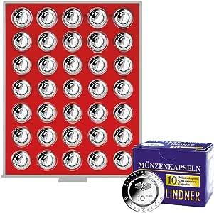 Lindner 2225-10EK Caja de Monedas ESTÁNDAR para 35 Monedas de colección alemanas encapsuladas de 10 € con Anillo de polímero, Incluidas 10 cápsulas de Monedas: Amazon.es: Juguetes y juegos