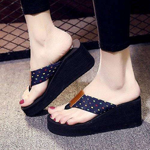 sandali blue estate coreana Marea alla e XZ nuova la inferiore versione con moda in spessore estate LIUXINDA scivolosi Slope WxTBp8UwU