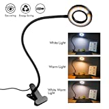 Clip on Light Reading Lights - iVict 24 LED USB Book Clamp Light with 3 Color Modes, 10 Brightness Dimmer and Auto Off Timer, Eye Protection Kids Desk Lamp, 360 ° Flexible Gooseneck Bed Night Light (Color: Black)