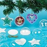 Boules de Noël à paillettes de diffèrentes formes pour enfants à décorer et suspendre (Lot de 9)