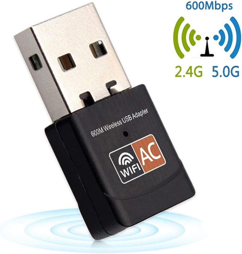 Black Portable Mini 600Mbps 2.4G//5G Dual Band Connection Wireless USB Adapter WiFi Receiver Dongle AC600M Home Network Card