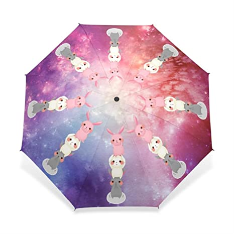 Animal Fully- and Non- Nebula Star Universe Rabbit Custom Umbrella Rain Paraguas Custom Umbrella
