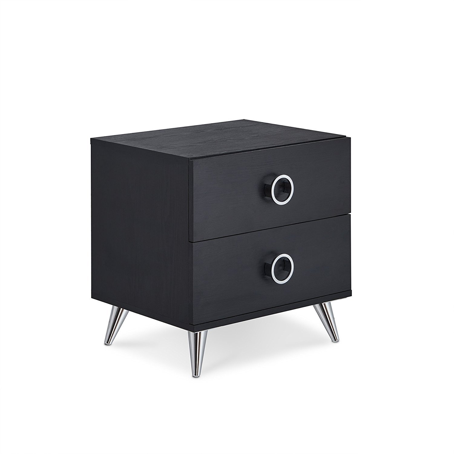 Major-Q 2 Drawer Dresser for Living Room/Bedroom/Entryway/Hallway, Black Finish with Chrome 20 x 17 x 20