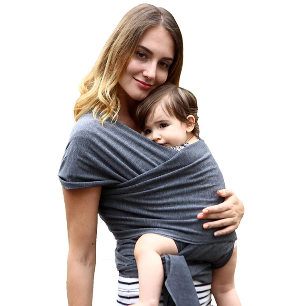 Baby Wrap Carrier Baby Sling - Soft Cotton Postpartum Belt and Nursing Cover with Carrying Pouch - for Infants and Newborn 1.9ftx17.4ft (Dark Gray) CA Market