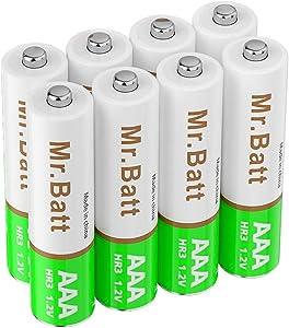 Mr.Batt AAA Rechargeable Batteries, NiMh Triple A 700mAh (8 Pack)