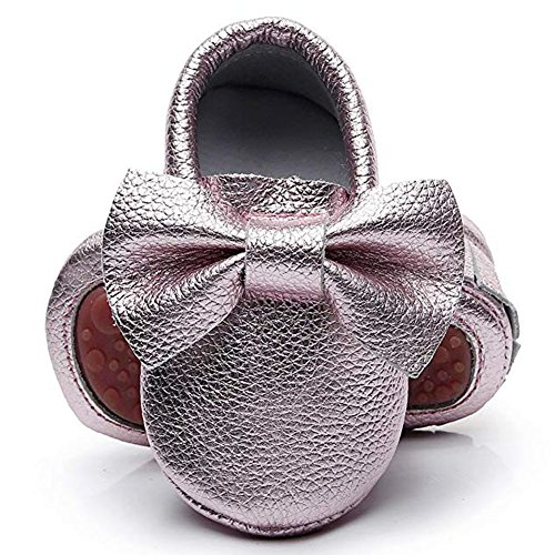 HONGTEYA Leather Baby Moccasins Hard Soled Tassel Crib Toddler Shoes for Boys and Girls (Little Kid/3-4 Years/US 11/6.69'', Bow-Rose -