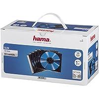 Hama 51269 Pochettes CD Pochette de Protection (Pack de 50, Slim Line, Hauteur : 5 mm) Pochettes CD Transparentes Noires
