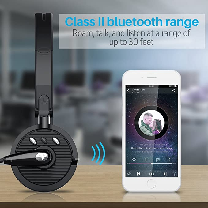 Amazon Com Cisno Bluetooth Headset Over The Head Boom Mic Wireless Headphone Noise Canceling Headset For Truck Drivers S