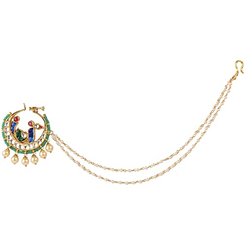 8169f4ed5c18 ... Gold Polished Semi Precious Kundan Polki   Pearls Nath Nose Pin Nose  Ring. N393ON Online at Low Prices in India