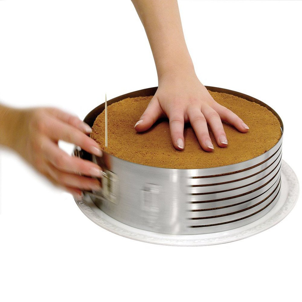 Adjustable 7 Layer 9 Inch - 12 Inch Stainless Steel Layer Cake Slicer Mousse Mould, Making Cakes, Bread, Biscuit, Cookies, Chocolate by HUAXIONG (Image #2)