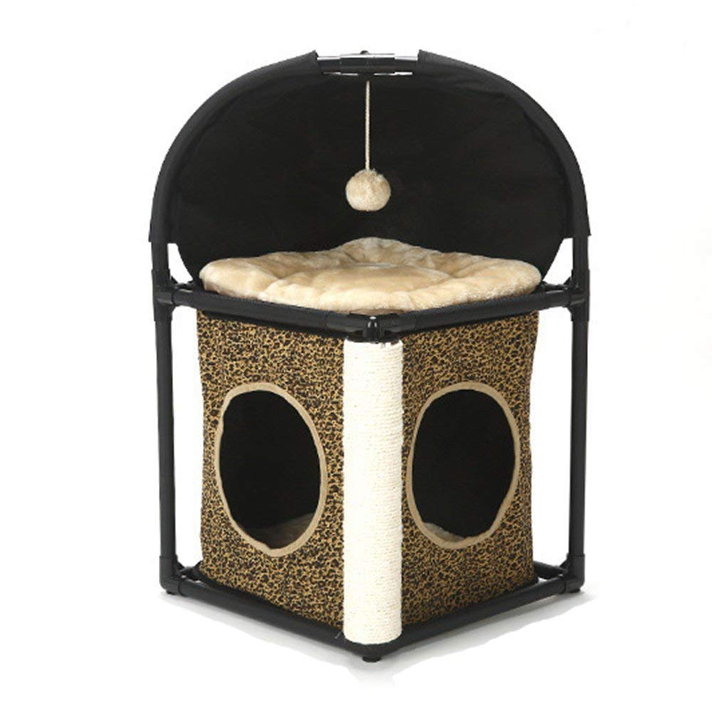 Cat Tree Apartment Furniture Semi-Enclosed Cat Bed Kitty Activity Tower Play Scratch Pet Toy Seasonal Supplies with Mat