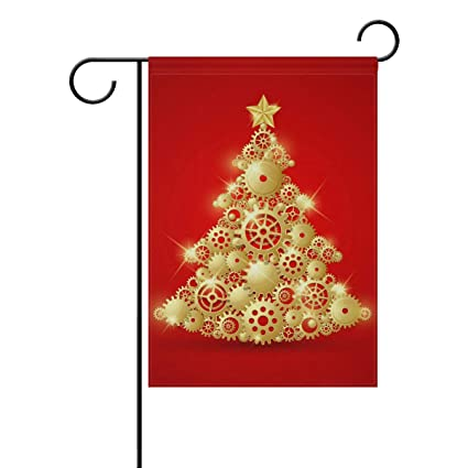 Amazon Com Mohado Golden Gear Christmas Tree Garden Flag