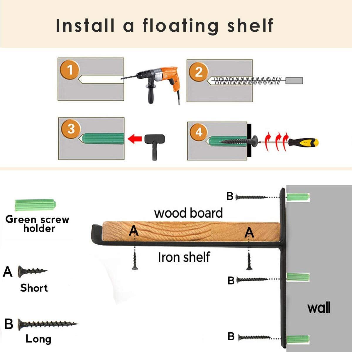 Display Wall Shelf Bracket 10.5 Inches 4Pcs Floating Shelf Brackets Wall Storage Shelf Supports Angle Braces Brackets for Bookshelf