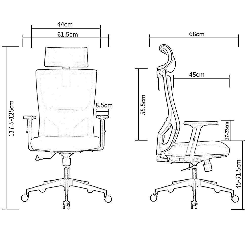 JIEER-C Fritidsstolar svängbar stol nylon ergonomisk nät formande pall med uppfällningsarmar och släta underlägg hög rygg dator kontor hållbar stark apelsin