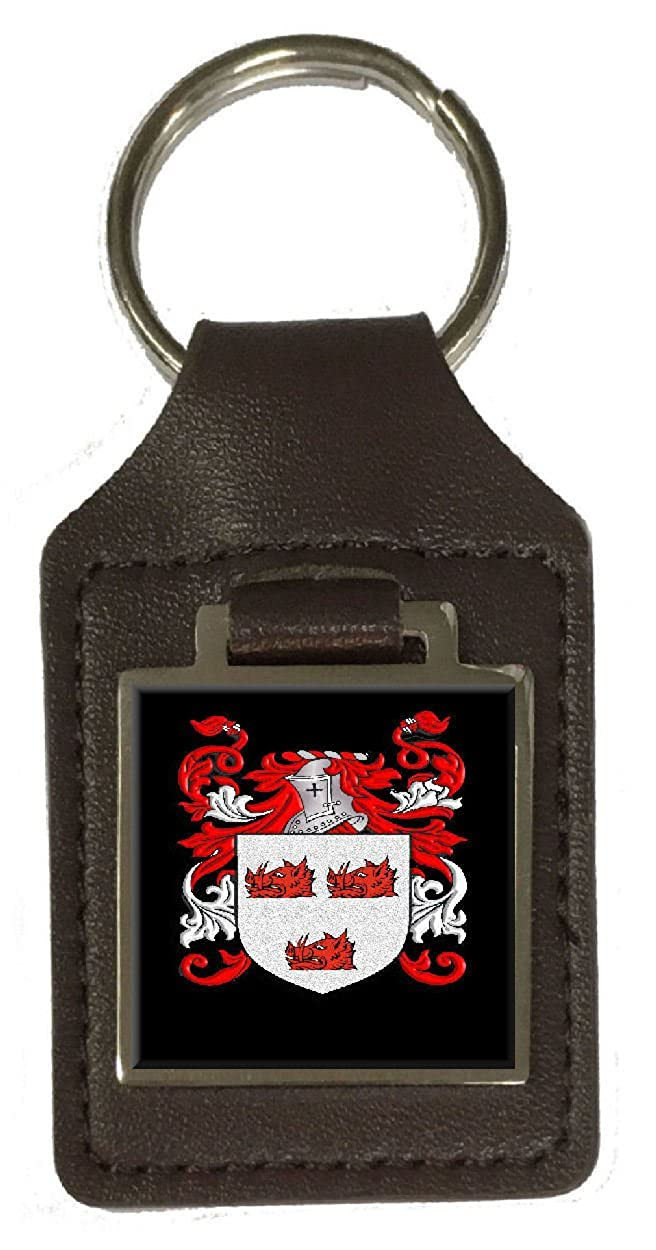 Barton Family Crest Surname Coat Of Arms Brown Leather Keyring Engraved