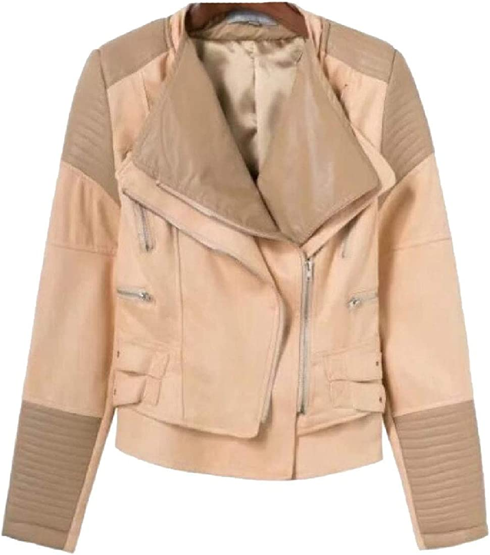 yibiyuan Womens PU Lapel Long-Sleeved Motorcylce Coat