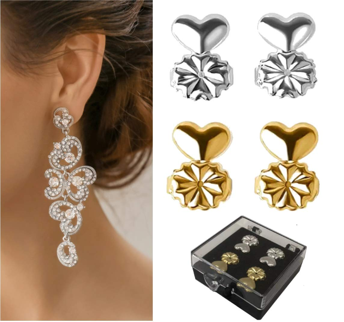 earDlite the original Earring Lifters - replaces all post type earring backs and like magic straightens droopy earrings. Included are 1 pair 925 Silver and 1 pair 18K Gold plated lifters. Cloverside Inc