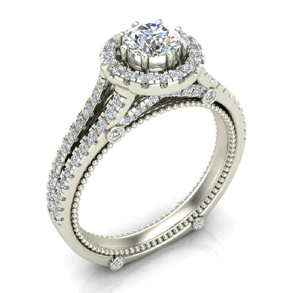 1.00 ct tw Vintage Look 14K White Gold Split Shank Diamond Engagement Ring (Ring Size 8.5)