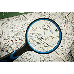SE ML2111-3 3-Inch Optical Quality Handheld Magnifier with 3X Magnification (6.5 Diopter) Glass Lens and Rubberized Body, 3""