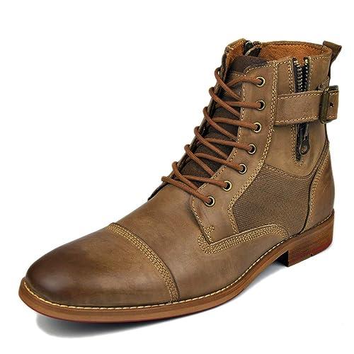 20cc8521f23 Suetar Botas de Moto Steampunk de Moda para Hombre Botas Chukka de Cuero  Genuino de otoño e Invierno para Hombres Botas Cowboy de Gran tamaño  Western Heel: ...