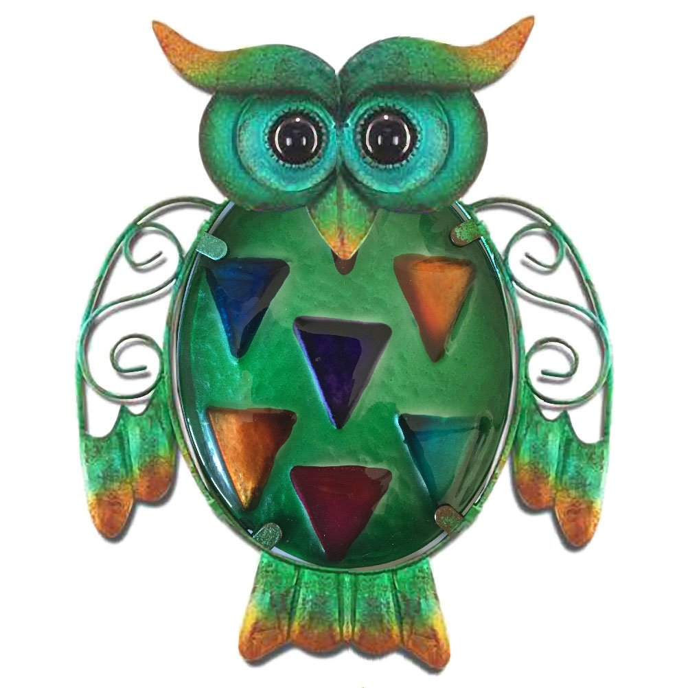 THE WORLD OF ANIMALS Owl wall decoration 17 cm - Green model