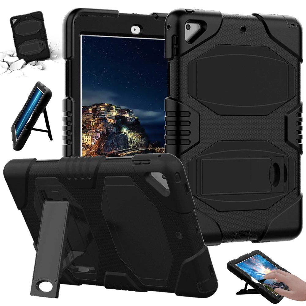 iPad 5th/6th Generation Case, Full Body Protective Dual Layer Business Soft Rugged Hybrid [Heavy Duty] Hard PC Stand Shockproof Kidproof Cover Skin with Kickstand for iPad 9.7'' inch/Air 2,Black