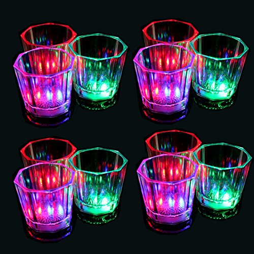 Glow Shot Glass (Set of 24 Flash Light Up Cups Flashing Shots Light 24 LED Bar Night Club Party Drink (24pcs))