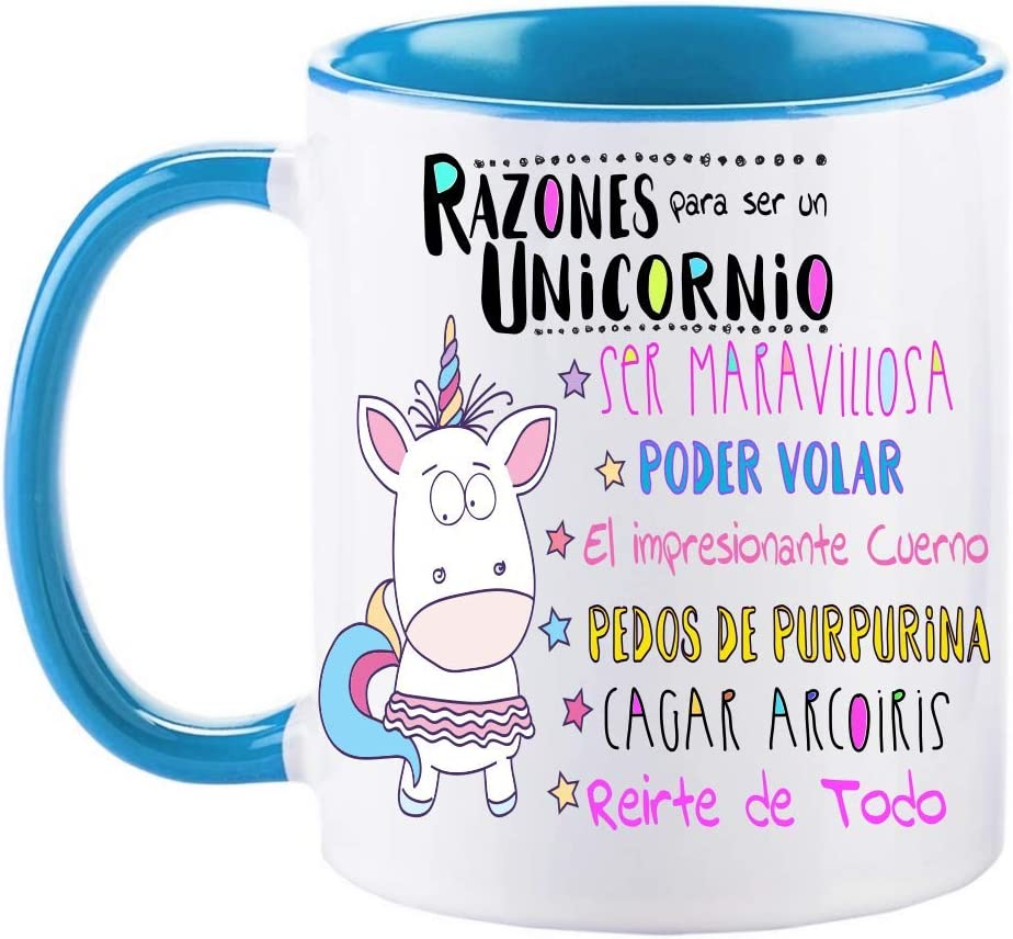 FUNNY CUP Taza Unicornio Color. Razones para ser un Unicornio. Divertidos Motivos para lucir Entre Amigas (Azul)