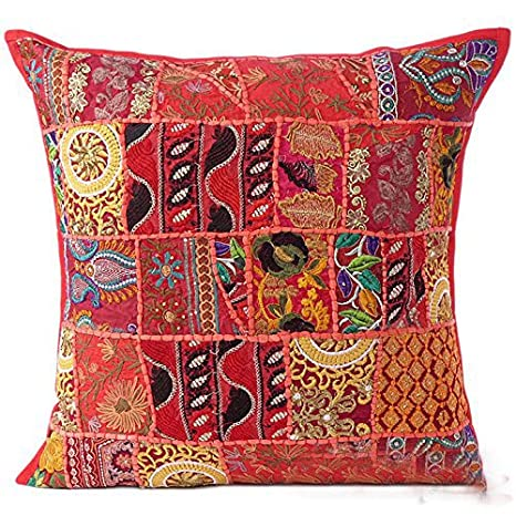 Sophia Art Indian Decorative Cushion Cover 24x24 Cotton Handmade Patchwork Embroidered Sequin Beads Ethnic Flowers Leaves Geometric Square Scatter ...
