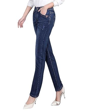 Men UK Frauen koreanische Version Frühling und Herbst Wild Elastizität hohe  Taille feste Füße schlanke Jeans Bleistift Hosen Trend: Amazon.de:  Bekleidung