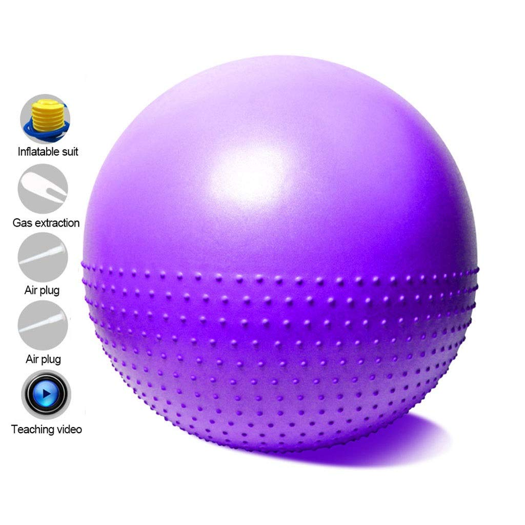 Exercise Ball Fitness Gym Ball, Anti-Burst & Anti-Slip with Pump, Swiss Ball Perfect for Yoga Pilates Birthing Pregnancy Core Training Workout (Color : Purple, Size : 65cm)