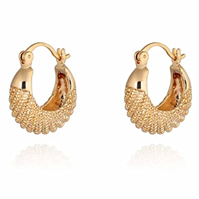 Yazilind Charming 18K Gold Plated Simple Design Smal Hoop Earrings