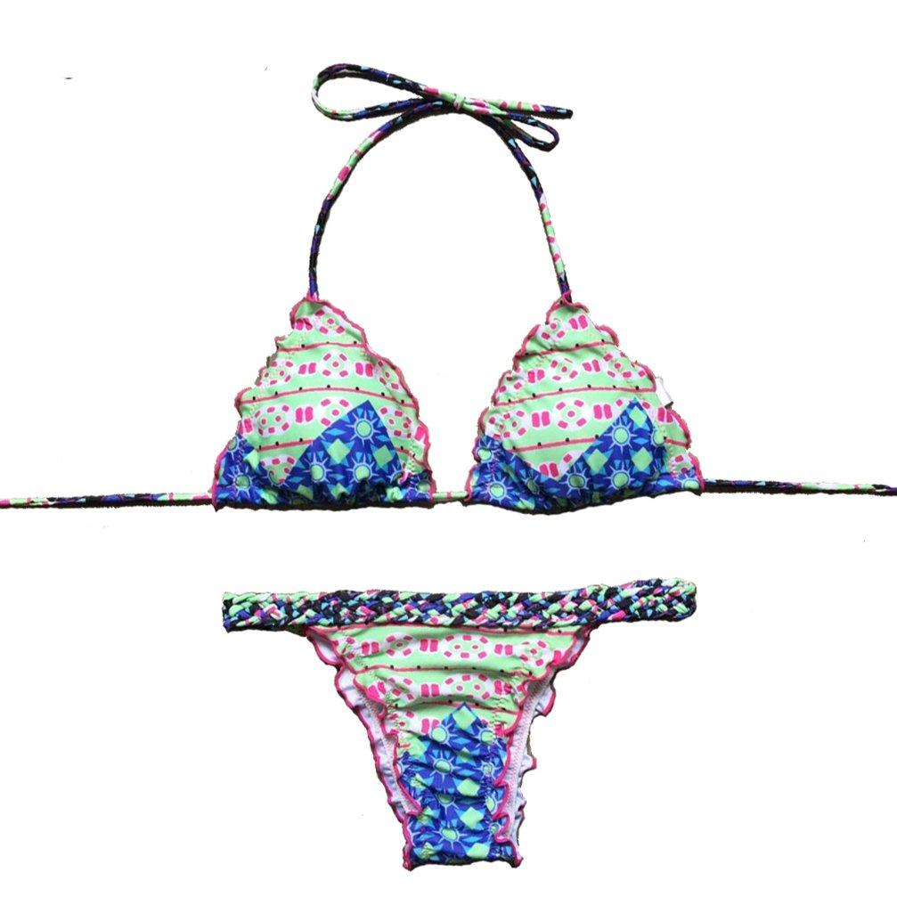 elepbaba Sexy Bikini New New Geometric Printed Bathing Suit Swimwear Women Bikini Set Swimsuit Push up Brazilian Biquinis QD608 as Pictures S