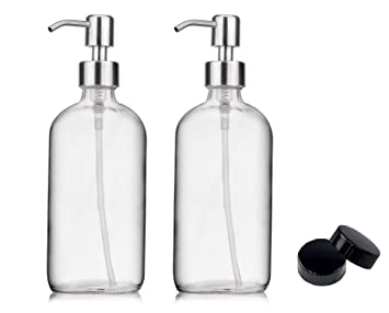 6dba064802a5 2-Pack Soap Hand Dispenser Glass Bottles Stainless Steel Pumps (16-Oz)  Great for Essential Oils, Lotions,...