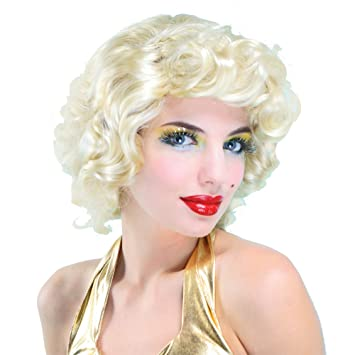 New Marilyn Monroe Style Blonde Bombshell Curly Fancy Dress Party Halloween Wig (peluca)