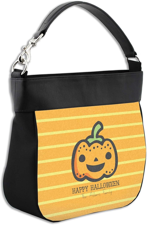 Halloween Pumpkin Hobo Purse w//Genuine Leather Trim Front Personalized