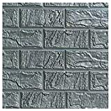 SODIAL(R) 6030cm 3D PE Foam Brick Stone DIY Wall Art Sticker Soft Panel Room Decor, Silver gray