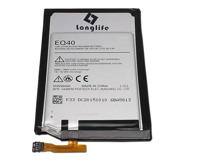 LONGLIFE New Replacement Battery for EQ40 Moto Droid Turbo XT1254 Maxx XT1225 XT1250 Batería de repuesto
