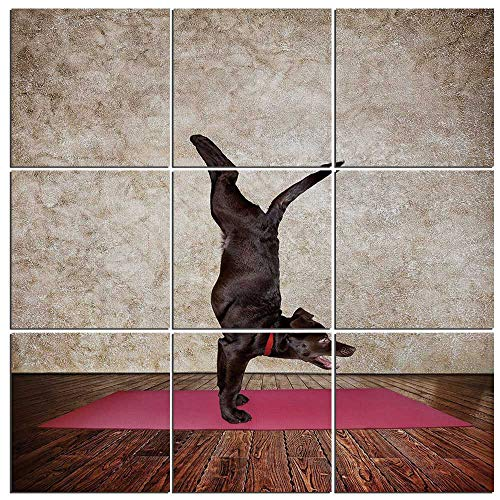 9 Piece Canvas Wall Art - Funny Modern Home Decor Stretched and Framed Ready to Hang,Yoga Dog Doing Handstand Pose on Mat Spiritual Puppy Wellbeing Pilates Sport Print,60