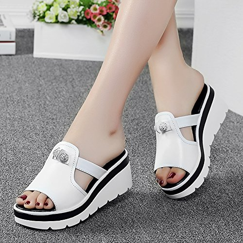 Sandals Feifei Women's Shoes High Quality Material Fashion Rhinestone Beach Slippers Black and White Optional (with High: 6CM) White pJDcOgigjQ