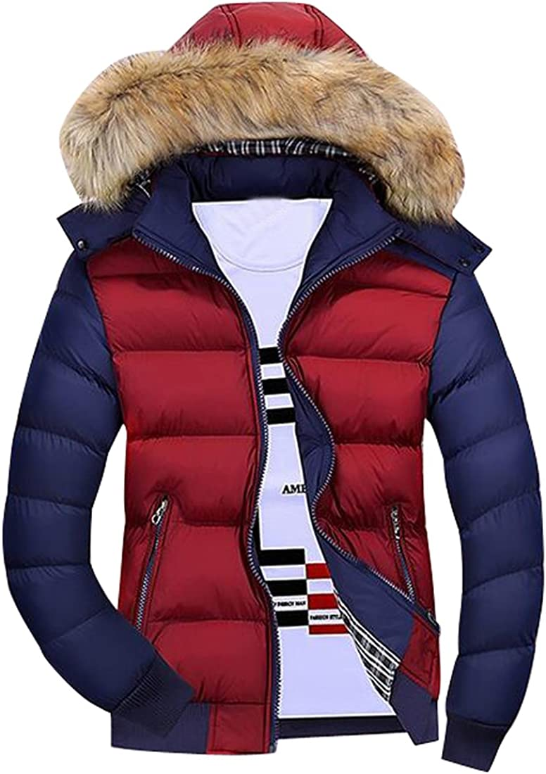 Oberora-Men Winter Faux Fur Hooded Down Quilted Puffer Jacket Coat Outwear