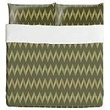 Zig Zag Green Duvet Bed Set 3 Piece Set Duvet Cover - 2 Pillow Shams - Luxury Microfiber, Soft, Breathable
