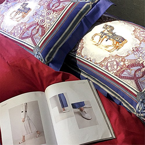 2000T Pima Cotton Digital Printing Duvet Cover Set 4 pieces Floral Styleextra queen^^^light blue with dark blue by YOUXIMAKE (Image #6)