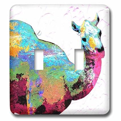 3dRose lsp/_172177/_2 Colorful Camel Digital Art Toggle Switch Multicolor